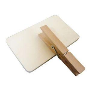 6 pinces à linge bois avec ardoise 9 cm