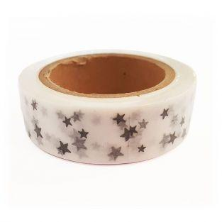 Washi Tape blancs à Étoiles argentées 15 m x 15 mm
