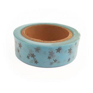 Washi Tape azules con Estrellas plateadas 15 m x 15 mm
