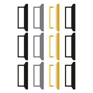 12 etiquetas adhesivas para el diario Bullet - negro-gris-dorado