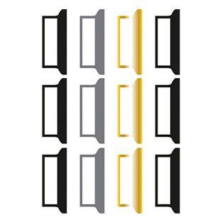 12 Stickers tabs for Bullet Journal - black-gray-gold