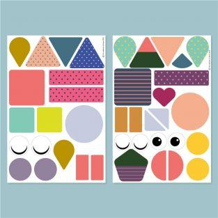 39 stackable playful wall magnets - Geometric