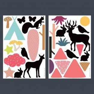 31 stackable playful wall magnets - Forest