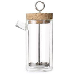 French press coffee maker with double walled glass