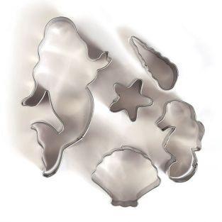 5 emporte-pièces en inox - Sirène et coquillages