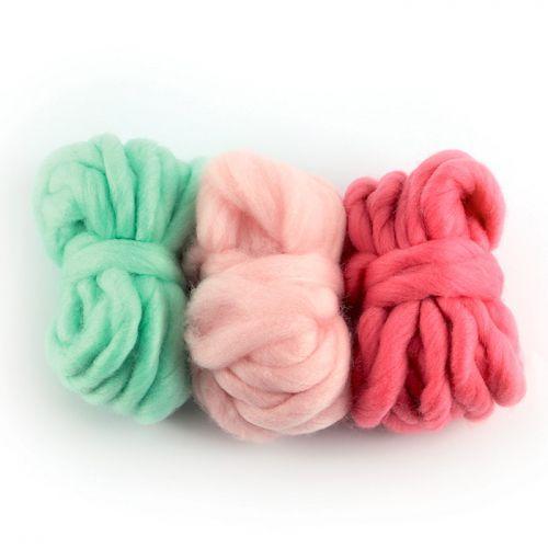 3 pelotes de laine 5 m - rose indien, rose dragée, menthe