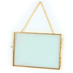 Cadre en verre vintage - rectangle avec chaîne métallique - 18 x 13 cm