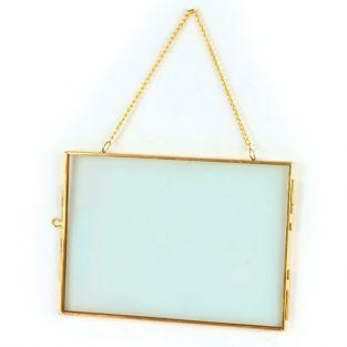 Vintage glass frame - rectangle with metal chain - 18 x 13 cm