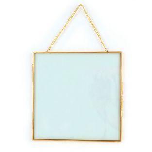 Cadre en verre vintage - carré avec chaîne métallique - 20 x 20 cm