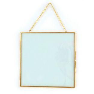 Vintage glass frame - square with metal chain - 20 x 20 cm