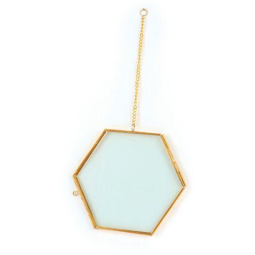 Cadre en verre vintage - hexagone avec chaîne métallique - 15 x 13 cm