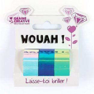 3 masking tapes iridescents 5 m x 1,5 cm - blanc, bleu, vert