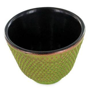 Green & gold cast iron incense holder bowl