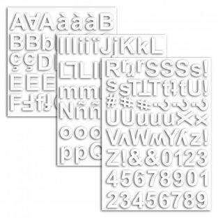 165 formas cortadas blancas - Alfabeto y números