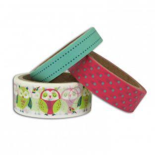 3 washi tapes 5 m - Búhos