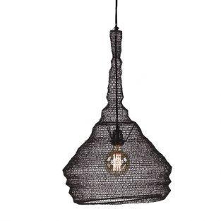 Lámpara suspensión de metal oxidado negro Ø 40 x 65 cm