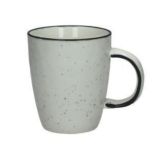 Pomax white porcelain mug with small white black dots 35 cl