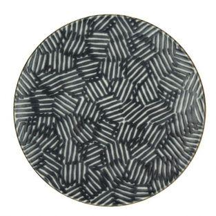 Pomax flat plate in black and white faience Ø 27 cm