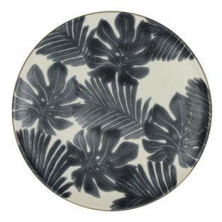 Pomax dessert plate in black & white faience Ø 21 cm