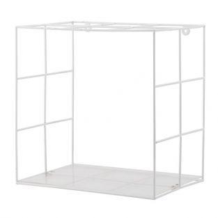 Estante de metal blanco y plexiglás 30 x 20 x 30 cm