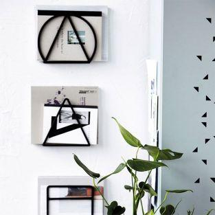 Magazine wall rack - black metal - 20 cm - set of 3