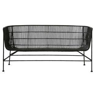 Black rattan sofa 70 x 65.5 x 140 cm