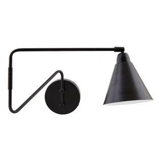 Black wall lamp with arm 15 x 13 x 70 cm