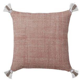 Coussin rose en coton et pompons 40 x 40 cm