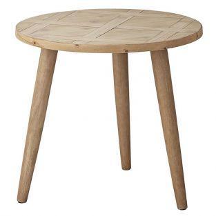 Mesa auxiliar de madera con incrustaciones 45 x Ø 50 cm