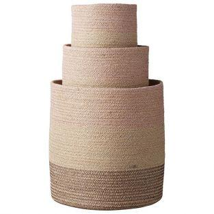 Lot de 3 paniers en jute naturelle rose