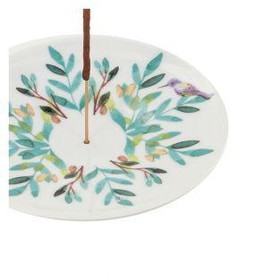Coupelle porte-encens en porcelaine - Aquarelle