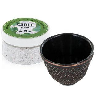 Black cast iron incense holder bowl + white sand
