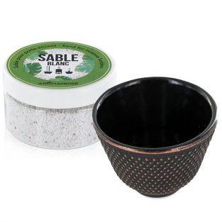 Porte-encens coupelle en fonte noire et sable blanc