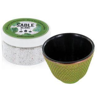 Porte-encens coupelle en fonte verte et sable blanc