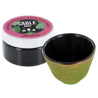 Green cast iron incense holder bowl + black sand