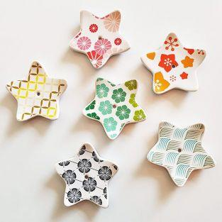 6 porcelain star incense holders
