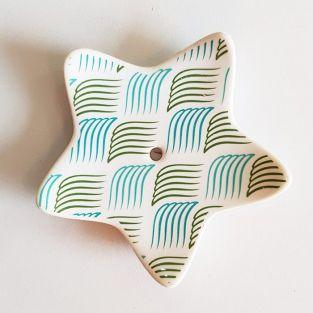 Porte-encens étoile en porcelaine - Baies bleues