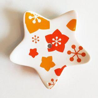 Porcelain star incense holder - Red & orange flowers