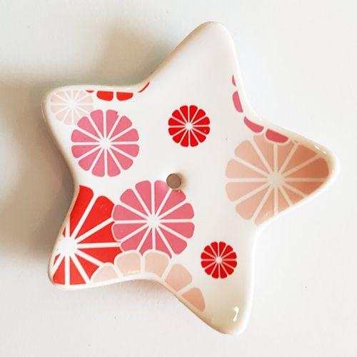 Porcelain star incense holder - Pink flowers