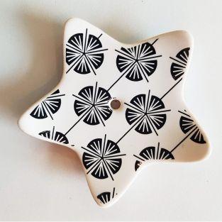 Porte-encens étoile en porcelaine - Coquelicot