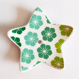 Porcelain star incense holder - Clovers