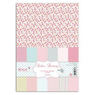 48 scrapbooking A4 sheets - pink, gray & green
