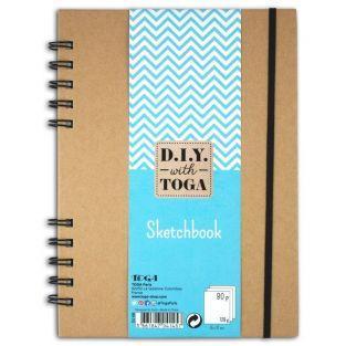 Cuaderno de dibujo 80 páginas blancas 128 g / m² con espiral 15 x 21 cm