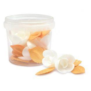 Decoraciones pasteleras de oblea - Flores blancas y hojas doradas