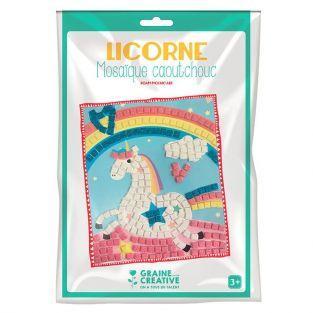 Kit mosaico de goma blanda - Unicornio