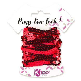 6 sequin ribbons 6 m - Grenadine red