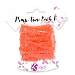 6 sequin ribbons 6 m - Neon orange