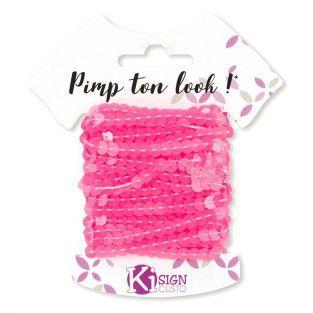6 cintas de lentejuelas 6 m - rosa neón