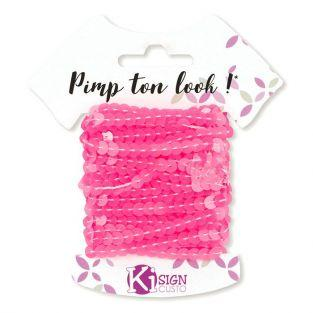 6 sequin ribbons 6 m - Neon pink