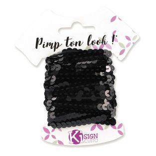 6 sequin ribbons 6 m - Black